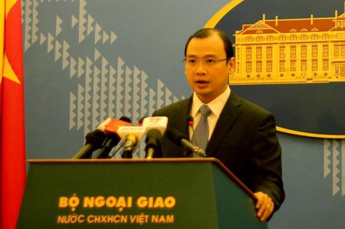 Người Phát ngôn Bộ Ngoại giao Lê Hải Bình nêu rõ Việt Nam phản đối quan chức Đài Loan đến đảo Ba Bình thuộc quần đảo Trường Sa của Việt Nam - Ảnh: Dương Ngọc