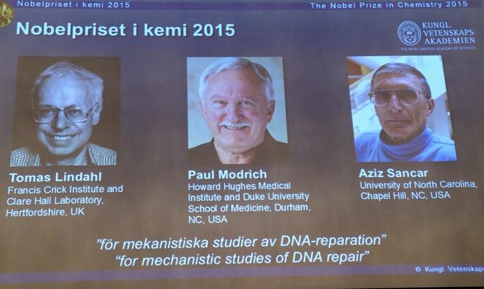 3 nhà khoa học đoạt giải Nobel Hóa học năm 2015. Ảnh: AP