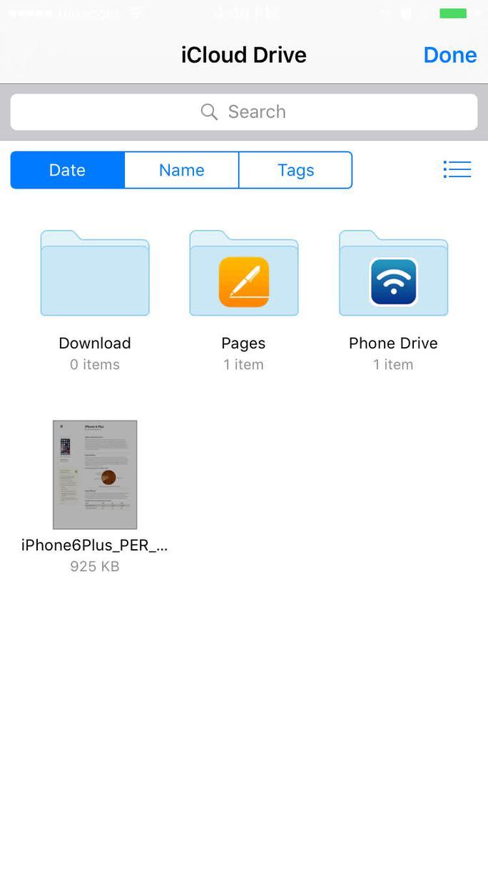 Hệ thống tập tin iCloud Drive sẽ mở ra, giờ bạn đã có thể thấy tập tin PDF và các tập tin khác bên trong.