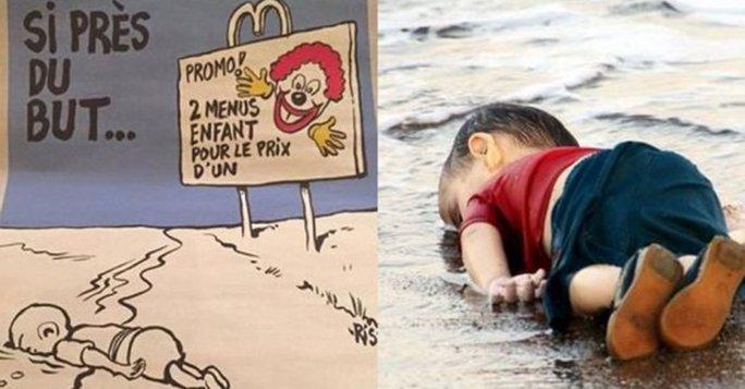 Cũng có ý kiến bênh vực cho rằng Charlie Hebdo thông qua biếm họa  để phê phán cách châu Âu ứng phó với cuộc khủng hoảng di cư. Ảnh: Twitter