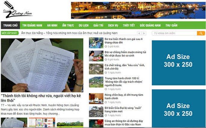 Ngoài trang tamky.com thì có các trang yeuquangnam.com, quangnamplus.net cũng chuyên xào nấu thông tin của các báo chính thống Ảnh chụp màn hình