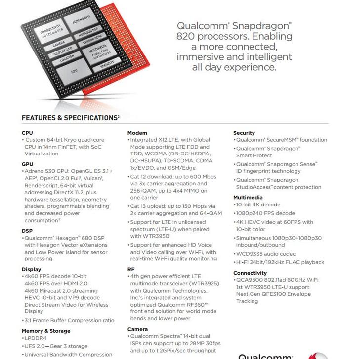 Các tính năng của dòng chíp di động cao cấp Qualcomm Snapdragon 820.
