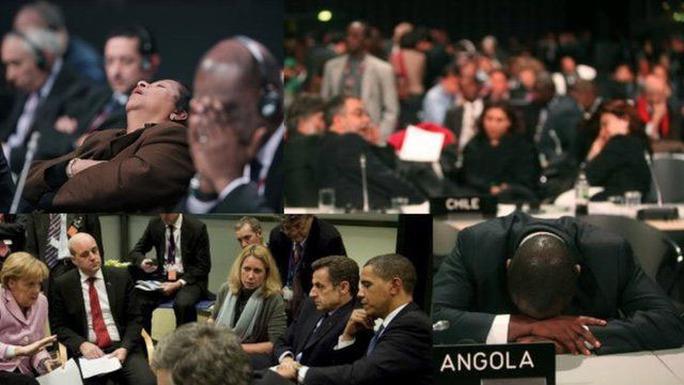 COP 21 trải qua nhiều cuộc họp thâu đêm vô cùng mệt mỏi. Ảnh: BBC