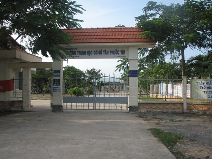 Trường Tân Phước Tây, nơi xảy ra vụ đánh nhau giữa 2 học sinh dẫn đến vụ trả thù làm 1 học sinh lớp 8 nguy kịch