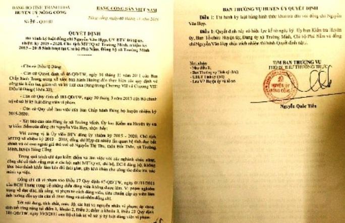Quyết định khai trừ Đảng, buộc thôi việc ông Nguyễn Văn Hợp, nguyên Chủ tịch MTTQ xã Trường Minh