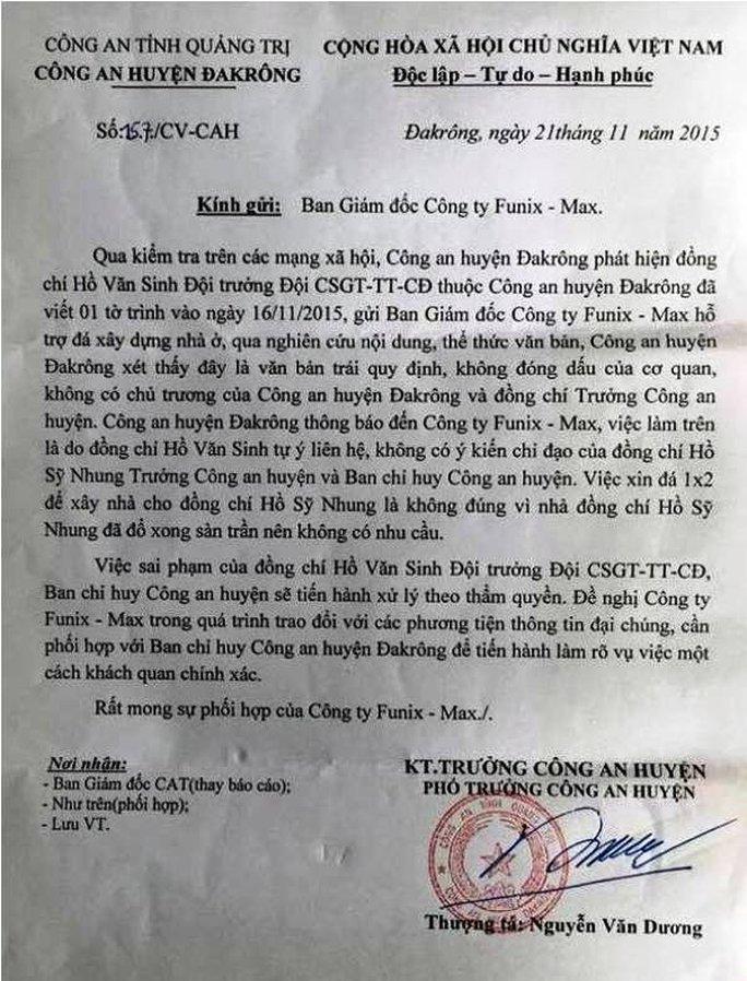 Công an huyện Đakrông xác định việc làm sai trái của Đội trưởng CSGT khi tự ý làm công văn gửi cho doanh nghiệp.