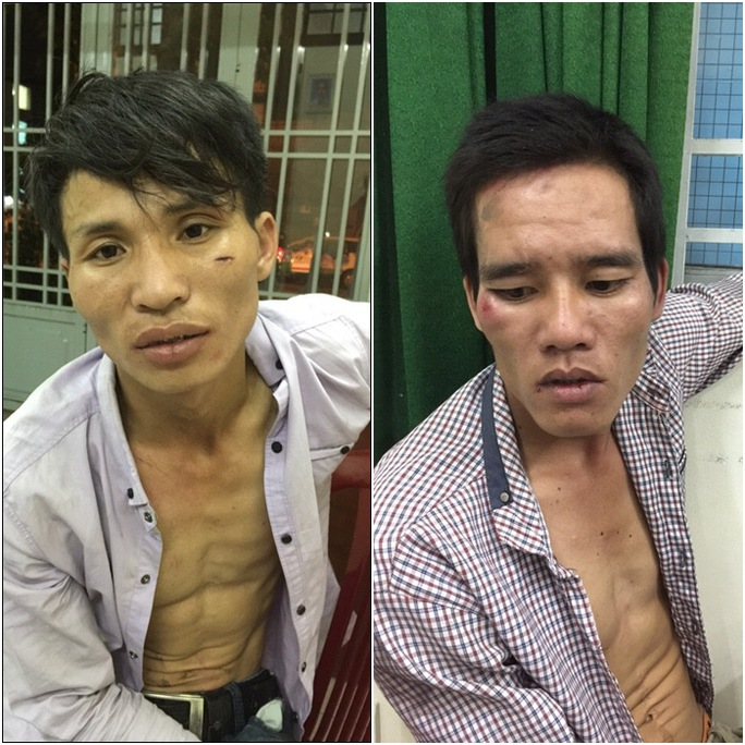 """Nguyễn Văn Thành (bên trái) và Nguyễn Văn Bắc (bên phải) tại cơ quan điều tra và chiếc xe tang vật mà cả hai trộm """"hụt"""""""