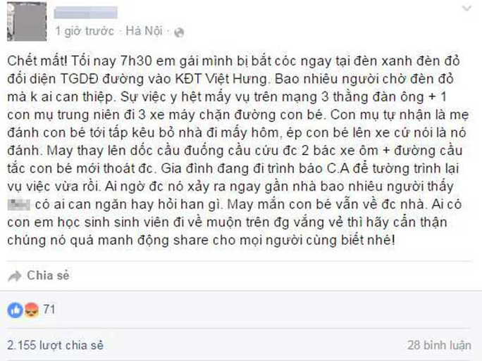 Đoạn status chia sẻ của L.B trên Facebook gây hoang mang dư luận - ảnh chụp màn hình