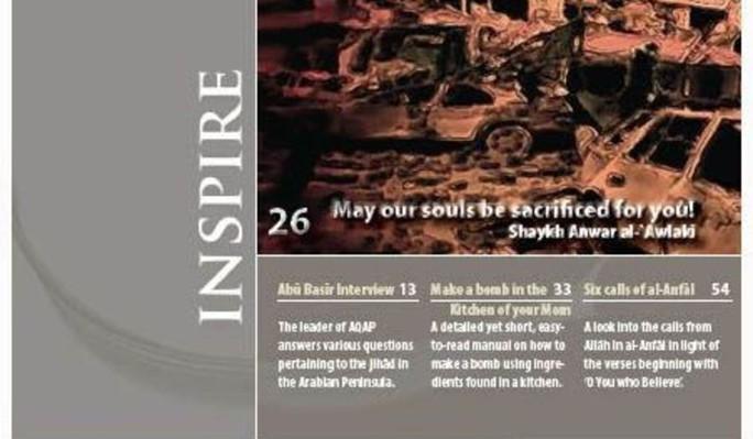 Tạp chí Inspire, trực thuộc Al-Qaeda. Ảnh: WASHINGTON TIMES