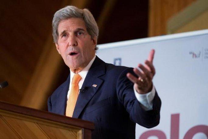 Ngoại trưởng Mỹ John Kerry phát biểu tại Oslo ngày 15-6. Ảnh: REUTERS