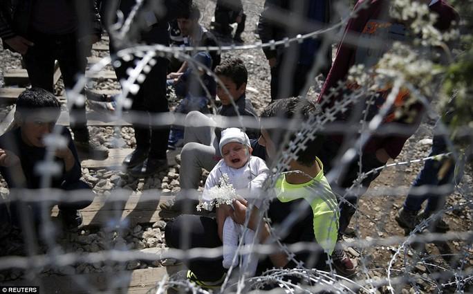 Một người đàn ông bế đứa con đang khóc với hy vọng những người gác cổng có thể mủi lòng. Ảnh: Reuters