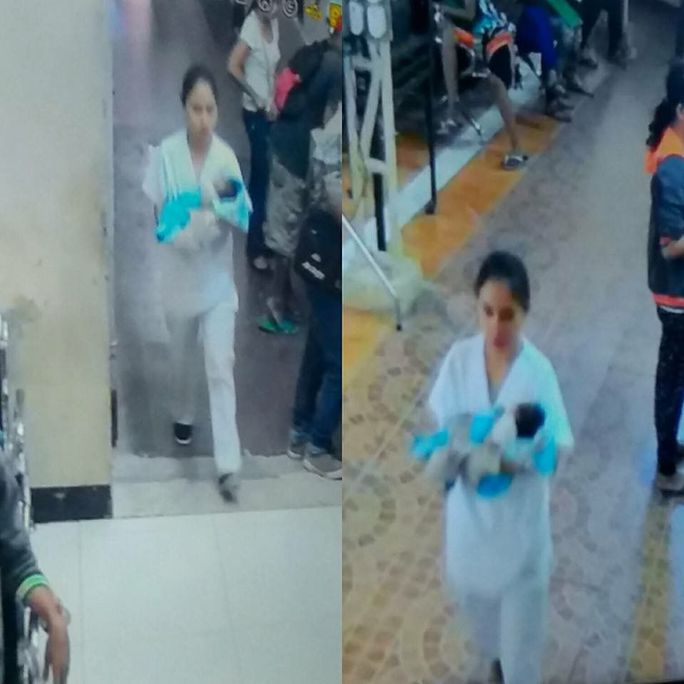 Camera giám sát trung tâm y tế đã ghi lại được hình ảnh kẻ bắt cóc. Ảnh: Inquirer