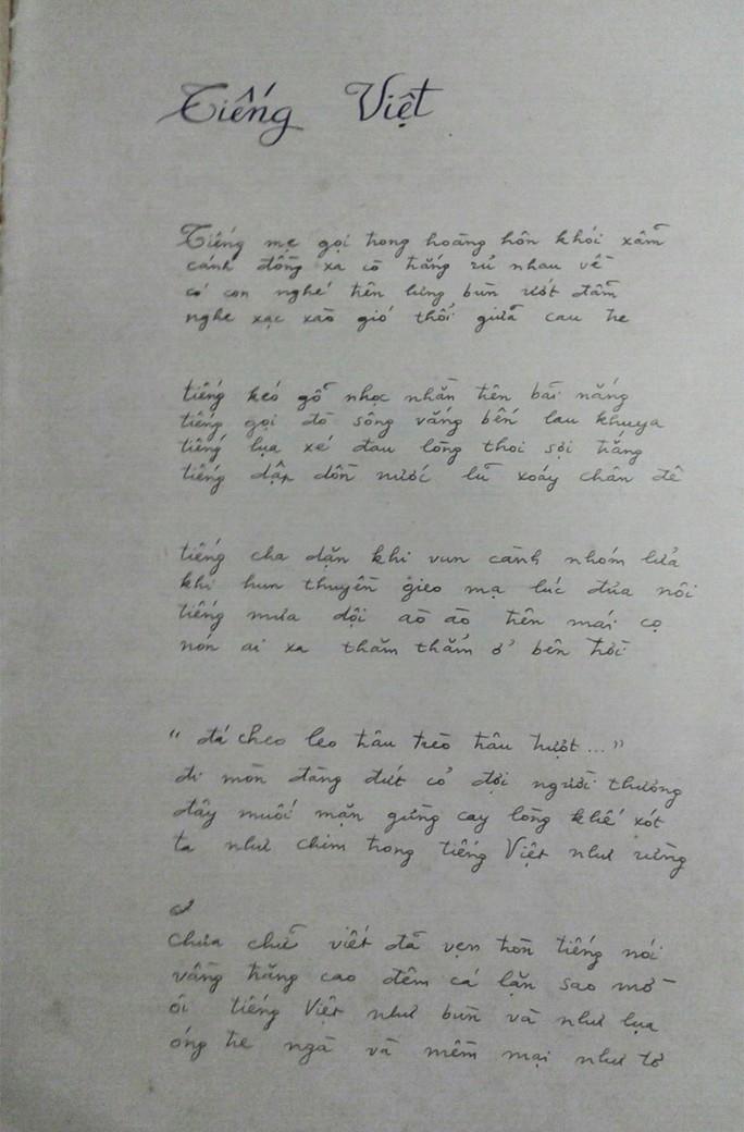 """Bản thảo viết tay của tác giả Lưu Quang Vũ ghi rõ """"tiếng Việt như bùn…"""" (Ảnh do PGS-TS Lưu Khánh Thơ cung cấp)"""