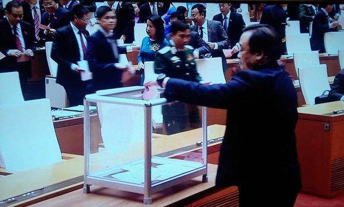 Các ĐBQH tiến hành bỏ phiếu kín bầu Chủ tịch nước - Ảnh chụp qua màn hình