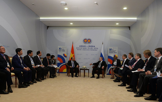 Cuộc gặp gỡ song phương của Tổng Thống Nga Putin và Thủ tướng Nguyễn Xuân Phúc diễn ra tại Trung tâm hội nghị và nghỉ dưỡng Radisson Blu ở Sochi