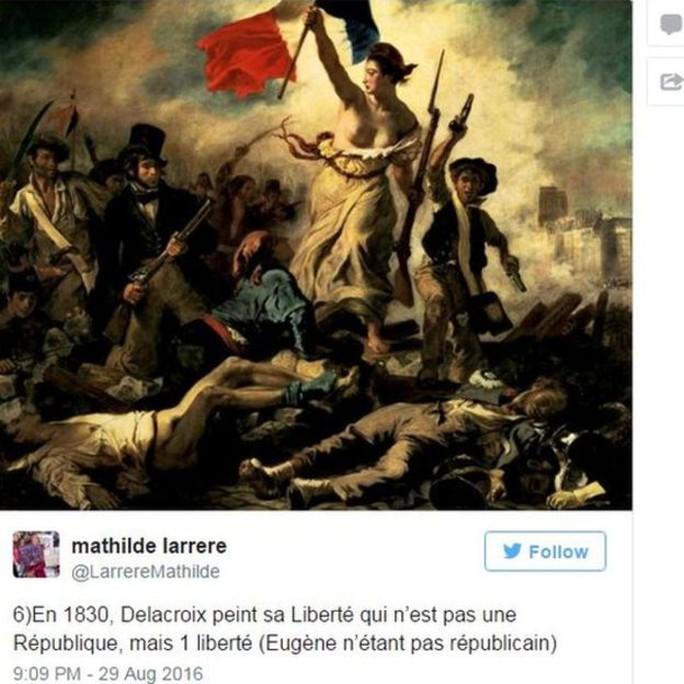 """Bức họa """"Nữ thần Tự do dẫn dắt nhân dân"""". Ảnh: BBC"""