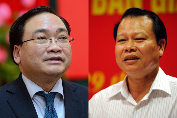 Thủ tướng Chính phủ đã trình QH miễn nhiệm chức vụ Phó thủ tướng Chính phủ đối với ông Hoàng Trung Hải (trái) và ông Vũ Văn Ninh