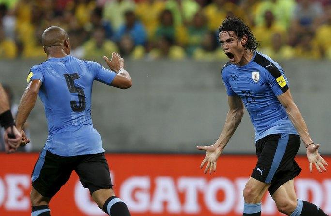 Cavani (phải) ăn mừng bàn rút ngắn tỉ số 1-2 cho Uruguay