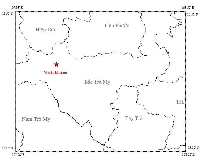 Bản đồ chấn tâm trận động đất xảy ra sáng nay Ảnh: Viện Vật lý địa cầu