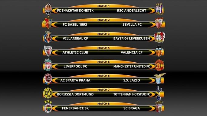 Kết quả bốc thăm vòng 1/8 Europa League