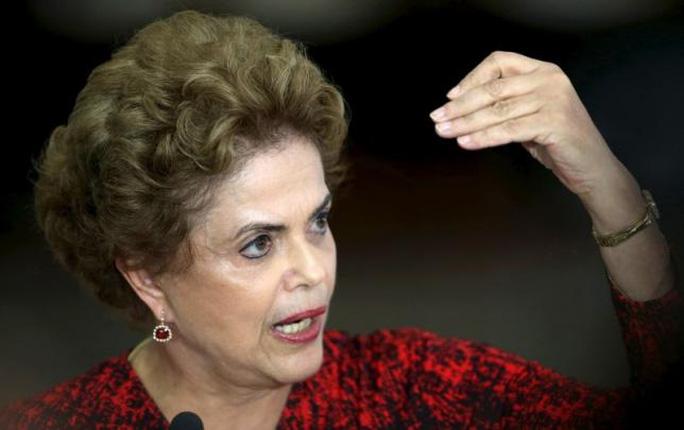 Bà Rousseff phát biểu tại cung điện Planalto hôm 16-3. Ảnh: Reuters