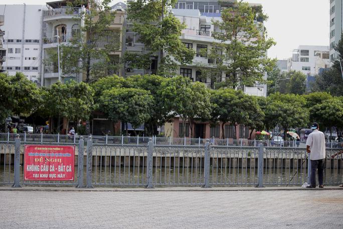 Người dân đánh bắt cá ngay bên cạnh biển báo cấm.