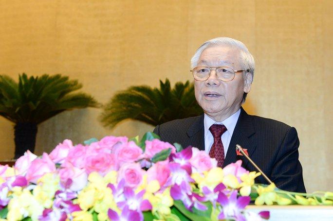 Tổng Bí thư Nguyễn Phú Trọng phát biểu tại phiên khai mạc kỳ họp thứ nhất, Quốc hội khóa XIV Ảnh: NGUYỄN NAM