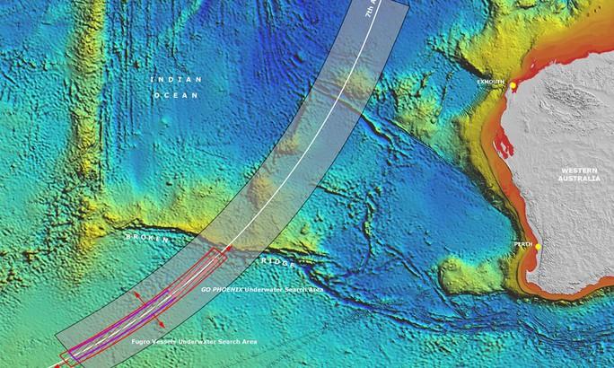 Khu vực (màu hồng) tìm kiếm chiếc máy bay MH370 ở Ấn Độ Dương. Ảnh: PR Image