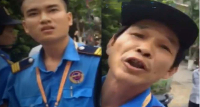 Hai nhân viên bảo vệ thách thức chặn xe cứu thương chở cháu bé đang hấp hối. (Ảnh cắt từ clip)