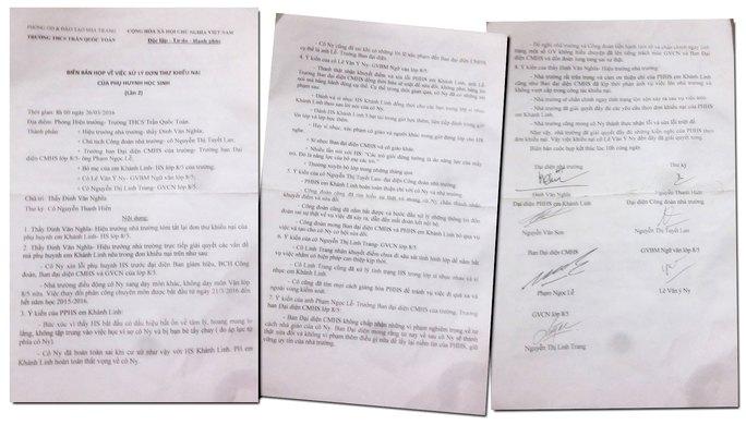 Tại biên bản họp xử lý khiếu nại của phụ huynh, cô giáo Nguyễn Văn Ý Ny thừa nhận đánh đập, sỉ nhục em K.L