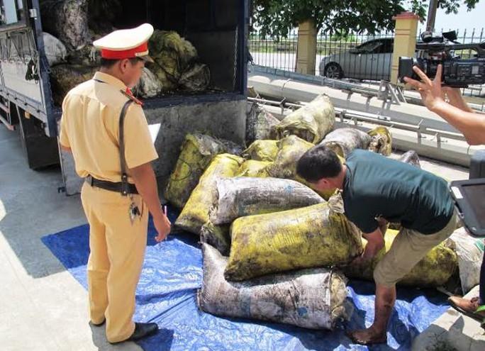 Số mỡ bẩn bị lực lượng CSGT Công an tỉnh Ninh Bình phát hiện bắt giữ - Ảnh chụp ngày 7-6