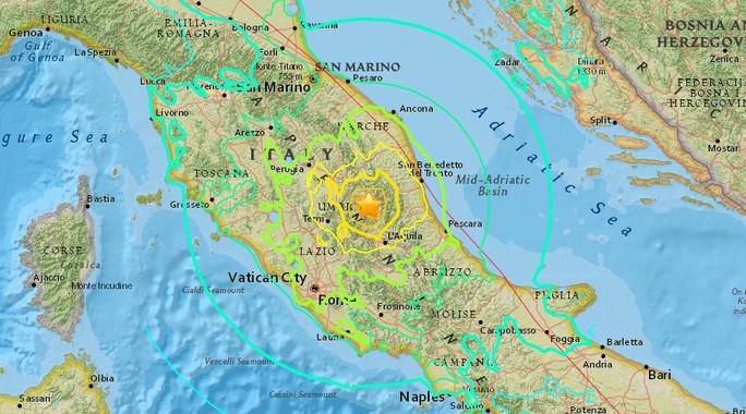 Động đất xảy ra miền Trung nước Ý. Nguồn: USGS