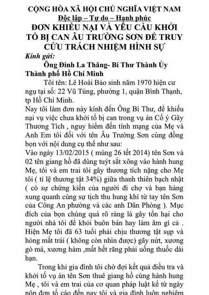 Đơn cầu cứu Bí thư Thành ủy Đinh La Thăng của anh Lê Hoài Bảo Ảnh: SỸ HƯNG