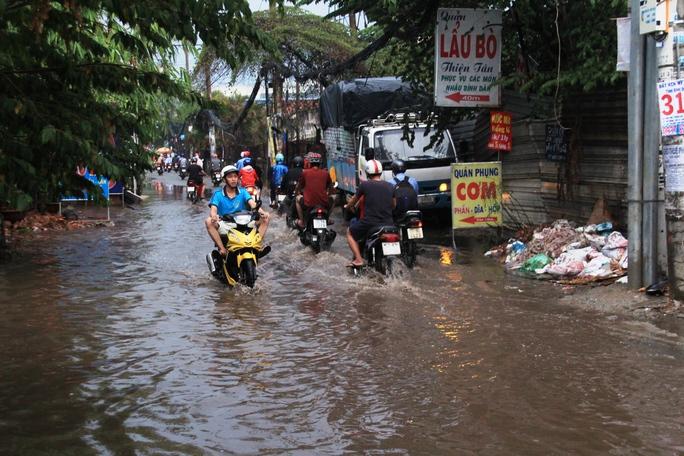 Cơn mưa cũng làm một đoạn đường số 20 (quận Thủ Đức) bị ngập sâu