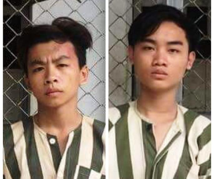 Nguyễn Hữu Thiện Long (trái) và Lâm Quang Thiện tại cơ quan điều tra