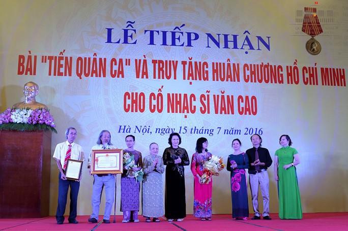 Chủ tịch Quốc hội tại lễ tiếp nhận bài Tiến quân ca và truy tặng Huân chương Hồ Chí Minh cho cố nhạc sĩ Văn Cao