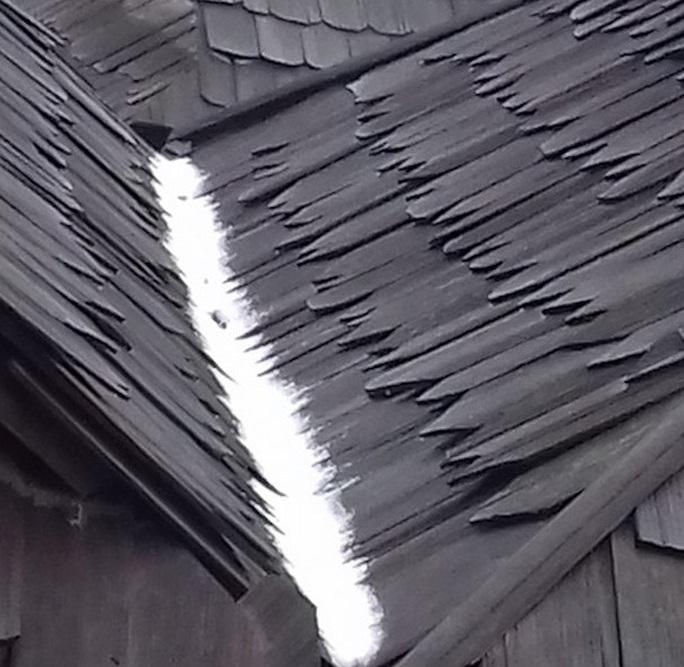 Tuyết đọng trên mái nhà