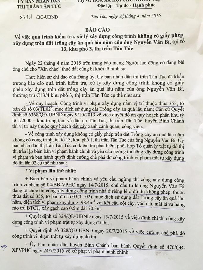Sau khi Báo Người Lao Động thông tin về vụ ông Nguyễn Văn Bỉ bị khởi tố hình sự, UBND huyện Bình Chánh liền vào cuộc xác minh để có hướng xử lý