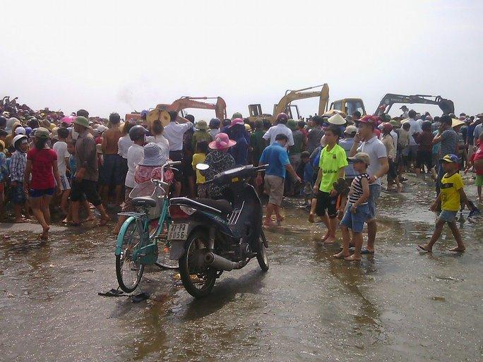 Rất đông người dân có mặt tại bãi biển xem giải cứu cá voi.