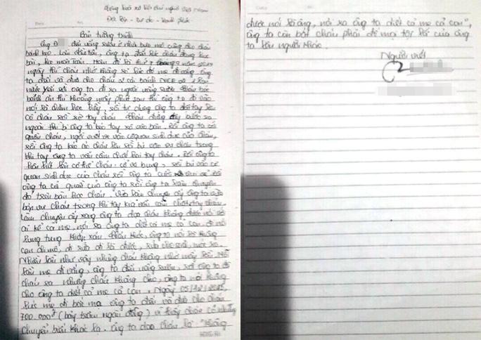 Bản tường trình của cháu L. về việc bị ông Đ. xâm hại nhiều lần.