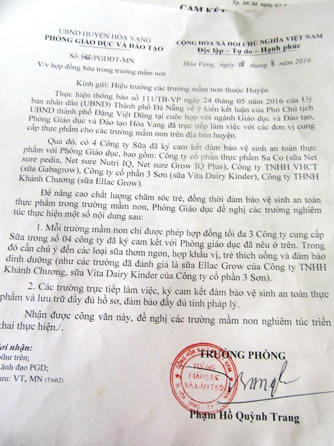 Văn bản của Phòng GD-ĐT huyện Hòa Vang mà bà Phạm Hồ Quỳnh Trang thừa nhận có sai sót