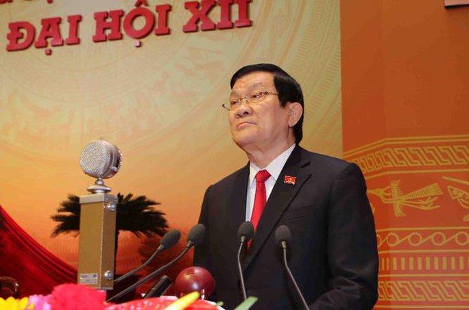Ủy viên Bộ Chính trị khóa XI, Chủ tịch nước Trương Tấn Sang phát biểu khai mạc Đại hội XII