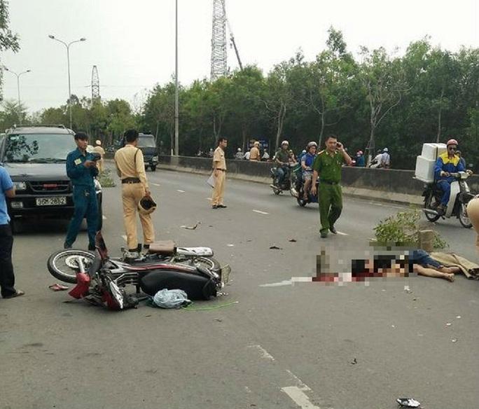 Hiện trường vụ tai nạn sáng 23-4. Ảnh: facebook Nguyen Tan Vu