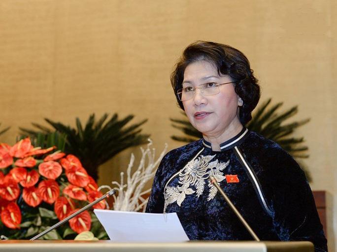 Chủ tịch QH Nguyễn Thị Kim Ngân phát biểu khai mạc kỳ họp thứ nhất, QH khóa XIV - Ảnh: quochoi.vn