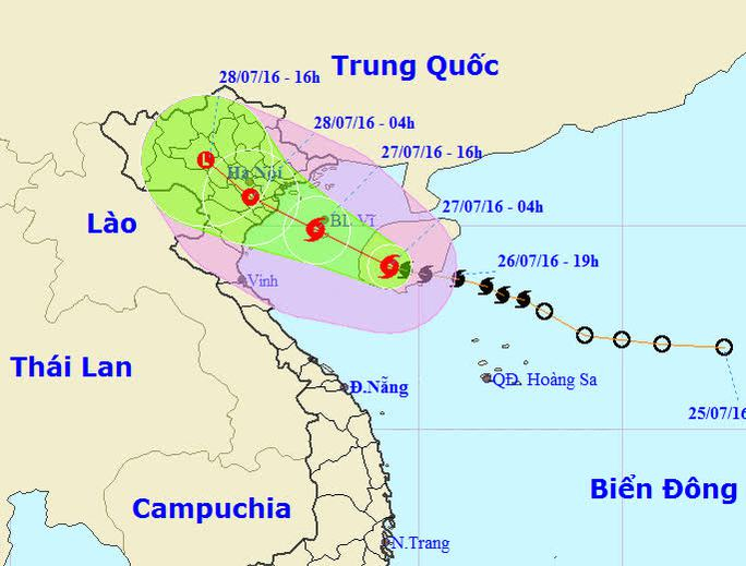 Dự báo đường đi của bão số 1 - Ảnh: Trung tâm dự báo khí tượng thủy văn Trung ương