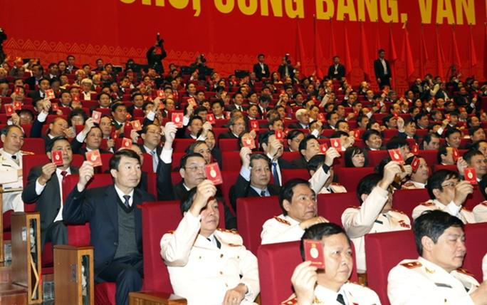 Các đại biểu Đại hội XII biểu quyết tại Đại hội
