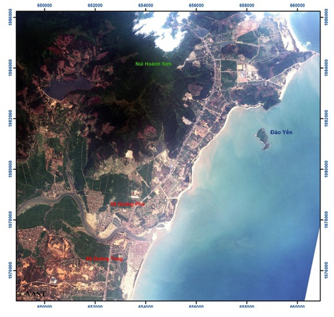 Ảnh vệ tinh VNREDSat-1 chụp khu vực lân cận Vũng Áng