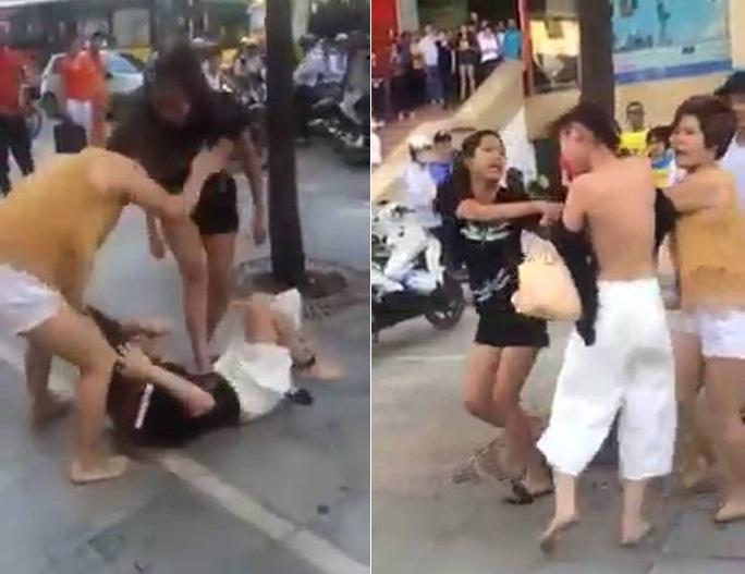 Cảnh đánh ghen kinh hoàng cô gái trẻ - Ảnh cắt từ clip