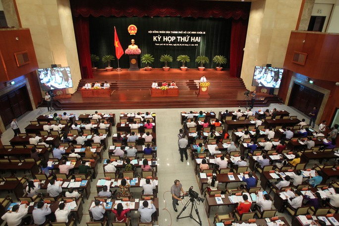 Toàn cảnh kỳ họp thứ 2 HĐND TP HCM khóa IX khai mạc sáng 3-8