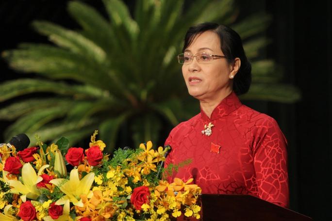 Bà Nguyễn Thị Quyết Tâm, Chủ tịch HĐND TP HCM phát biểu tại phiên khai mạc kỳ họp